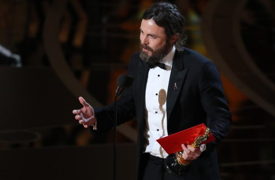 "Casey Affleck speaks as he accepts the Oscar for Best Actor for ""Manchester by the Sea"". Photo: Reuters"