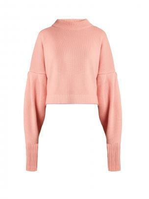 Tibi Bishop-Sleeved Cropped Cashmere Sweater $865