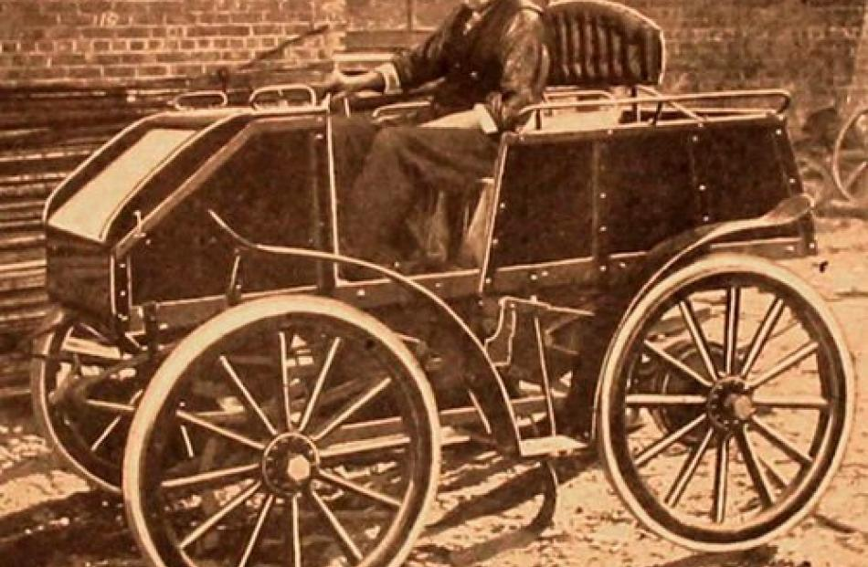 George Methven and his car which he built in Dunedin.
