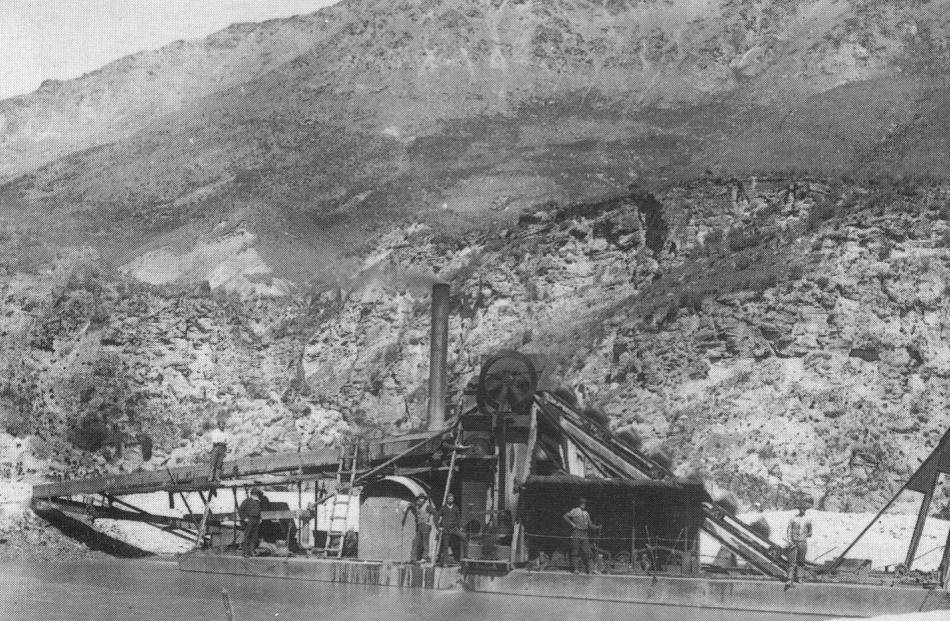 Choie Sew Hoy's Dunedin-built dredge for his Shotover Big Beach Gold Mining Co. Assembled on Big...