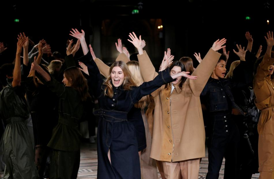 Models danced at the fashion show. Photo: Reuters