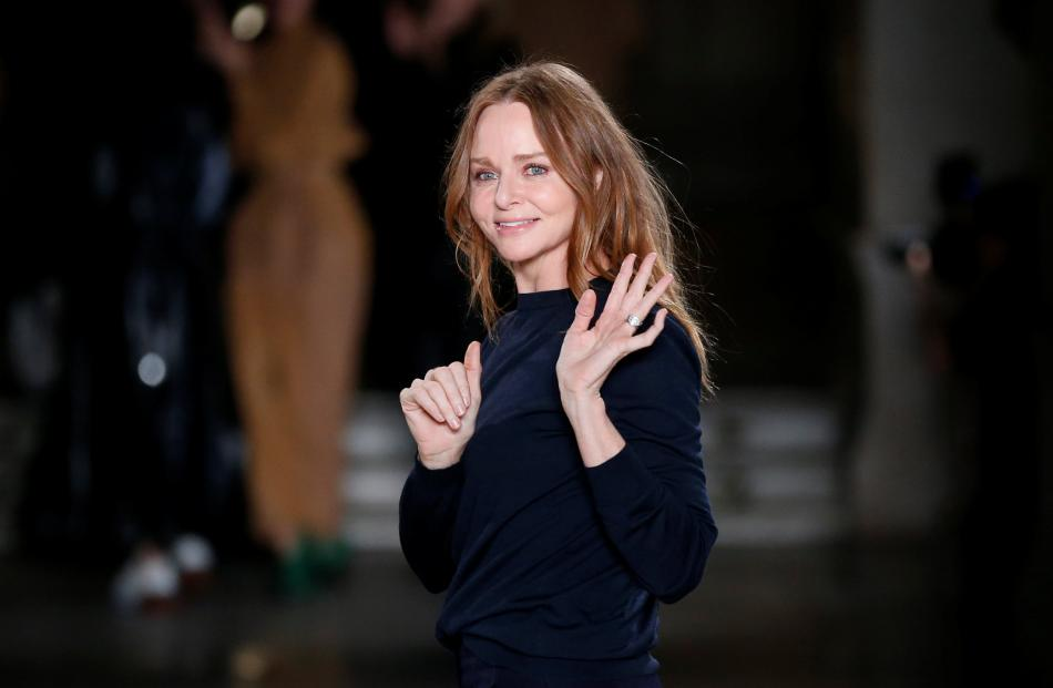 Stella McCartney appeared at the end of the runway show. Photo: Reuters