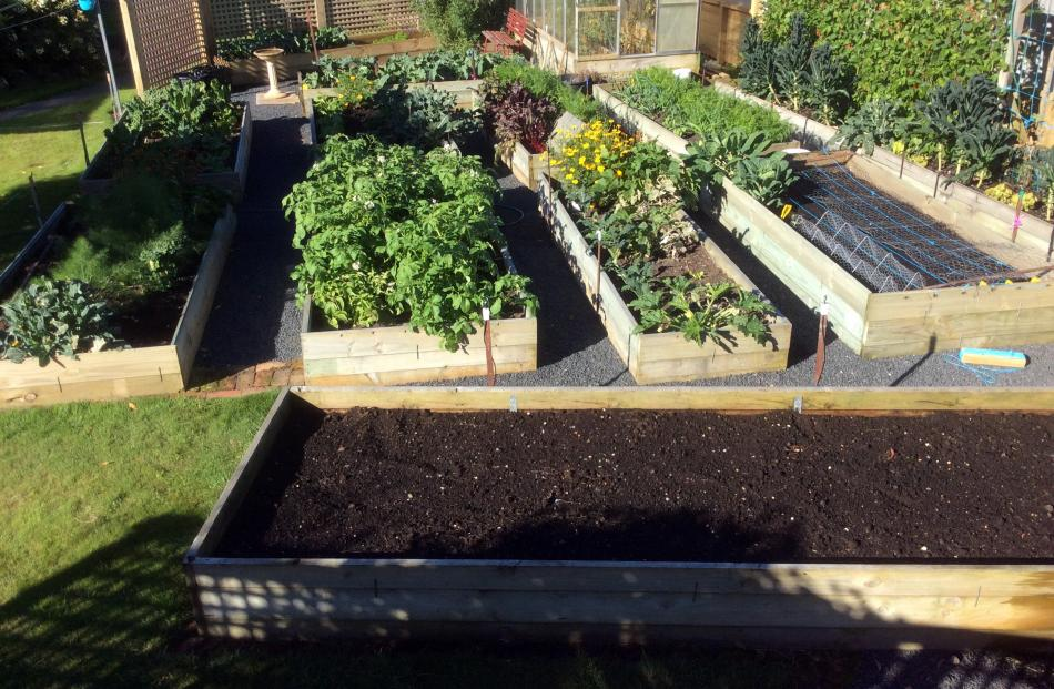 Mike Stephens and his wife Heather have spent about 16 years creating these raised beds at their...