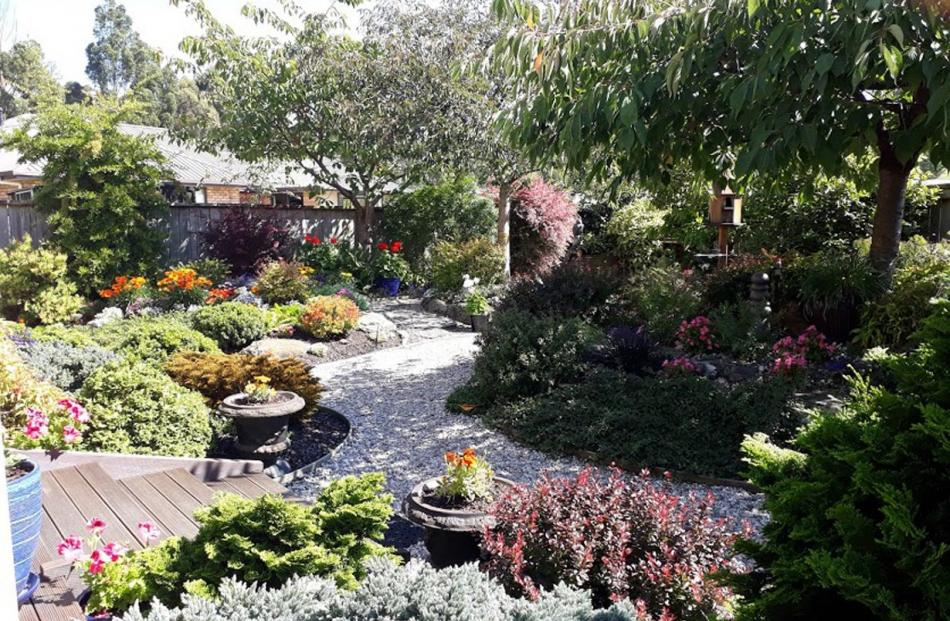 Francie Stephens' garden in Woodland Ave, Mosgiel.