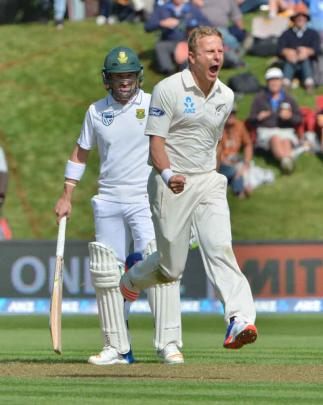 Neil Wagner celebrates his first wicket for New Zealand as South African 