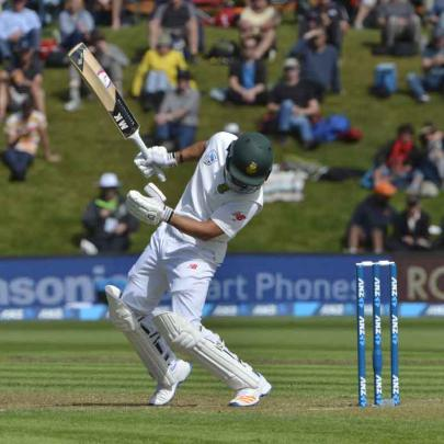 South Africa batsman JP Duminy moments after gloving a short ball which was caught by 