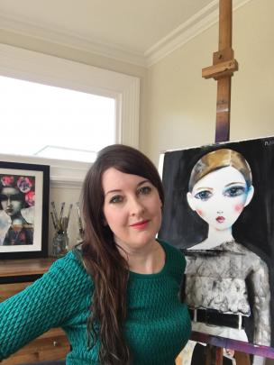 Suzy Platt with a gouache work inspired by Chanel at Paris Fashion Week. Photos supplied.