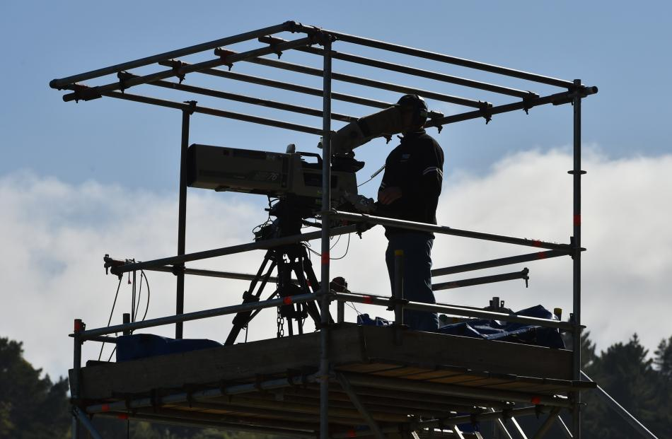 Camera operators keep tabs on events at the University of Otago Oval this week.