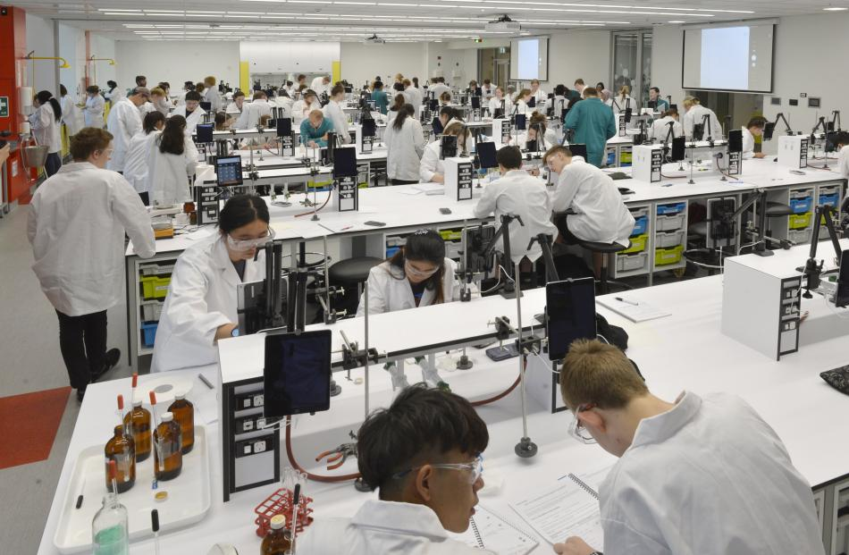 First-year students work in the just-opened ''super-lab''.