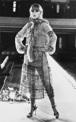 Dress by Alisa Barr modelled at the 1975 Benson and Hedges Fashion Design Awards, Wellington. PHOTO: MAYSIE BESTALL-COHEN COLLECTION, ALEXANDER TURNBULL LIBRARY, WELLINGTON