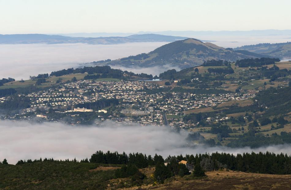 Much of Dunedin and the Taieri were covered in a thick blanket of fog yesterday. Photos: Gerard O...