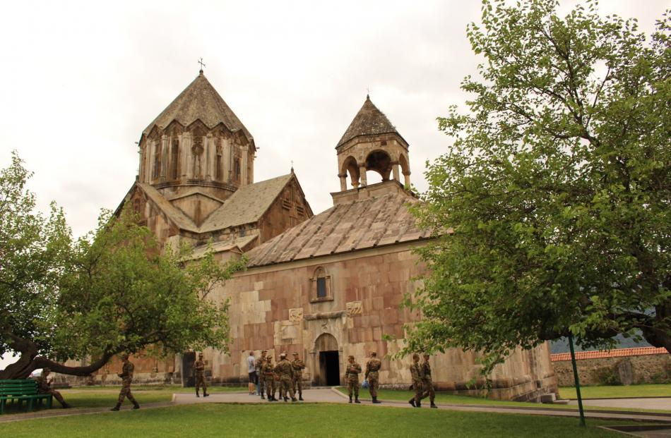 The Church of Surb Hovhannes Mkrtich, Gandzasar Monastery, Vank, with troops.