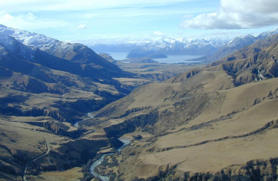 The Motatapu River and Lake Wanaka in the distance, at Motatapu Station. Photo: ODT.