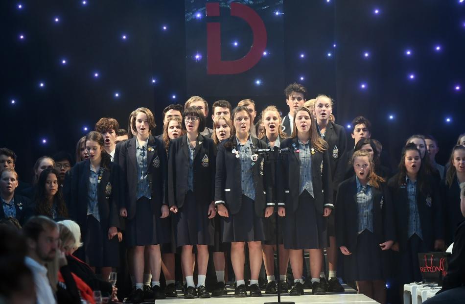 Otago Girls' High School and Otago Boys' High School choirs perform before the iD Dunedin Fashion...