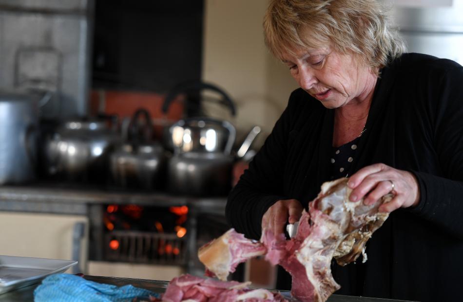 Food co-ordinator Sue Hore prepares lunch.