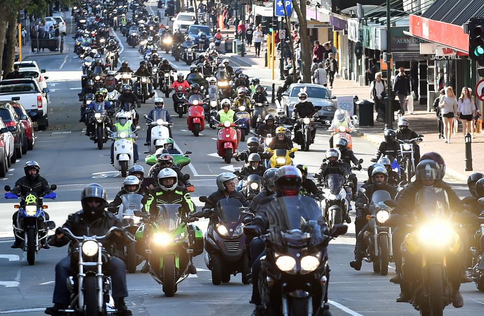 A pack of motorcycle riders participate in the Bronz Otago Motorcycle Club annual Easter egg run in Dunedin yesterday. Photos by Peter McIntosh.
