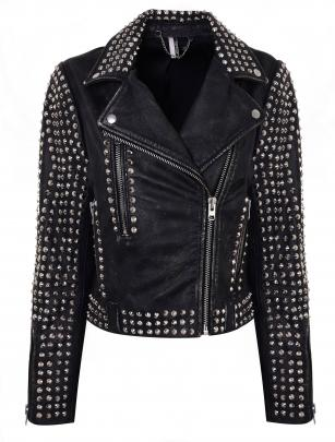 Topshop studded leather biker jacket, $450