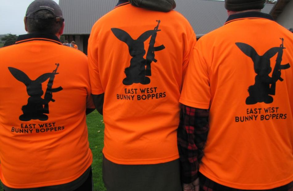 "Members of Greymouth's ""East West Bunny Boppers"" team get ready for the hunt."