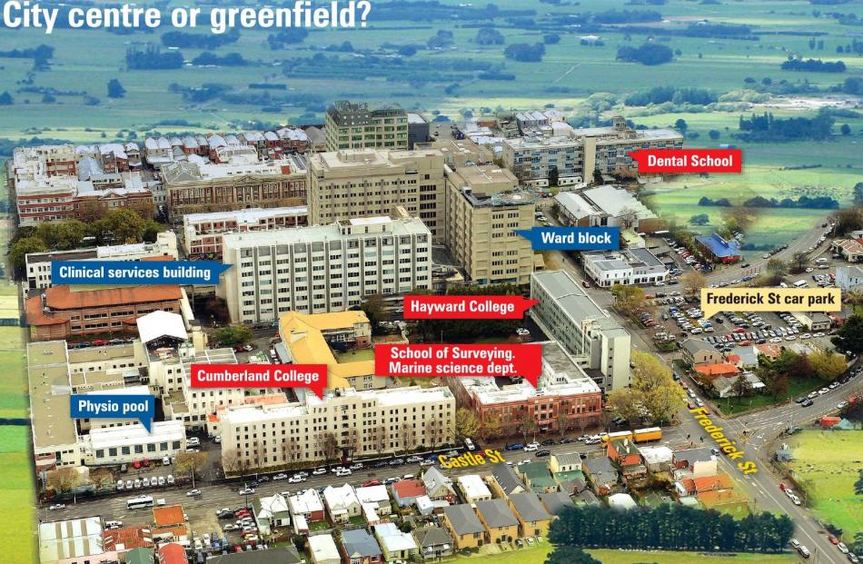 Ownership key: Blue - District Health Board; Red - Univesity of Otago; Beige - Dunedin City...