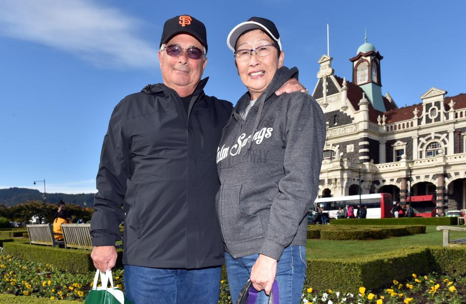 Ed and Misa Flank, of California, were relieved to be on dry land in Dunedin yesterday after a...