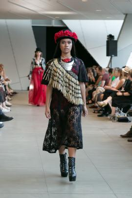 A lace dress, modelled by Miriata Waru of Global Indigenous Management, which Amber plans to put...