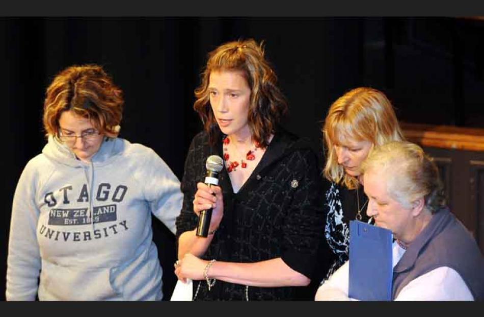 Casey Coombes speaks of her experience, supported by Nicki Fairbairn (left) and (at right) Lianne...