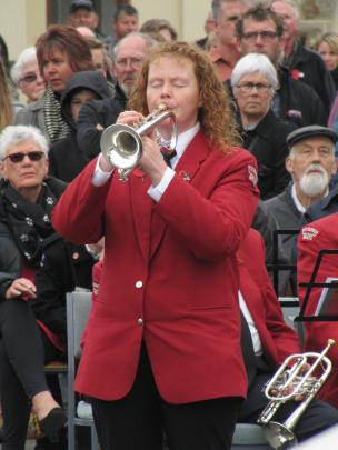 Bugler Christine Wright, of Alexandra, plays Last Post at the Alexandra service. Photo: Pam Jones.