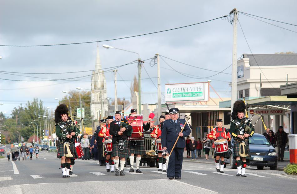 The Balclutha Pipe Band marches down Union St in Milton. Photo: Samuel White.