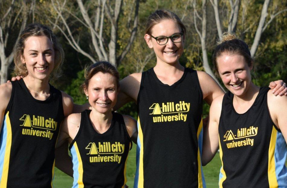 The senior women's champion team of (from left) Hannah Anderson, Shireen Crumpton, Bella...