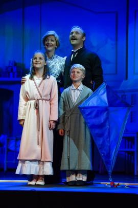Greg MacLeod as Mr Banks with son Lucas playing Michael Banks alongside co-stars Grace Johnston as Jane Banks and Kelly Hocking as Mrs Banks. Photos: Supplied.