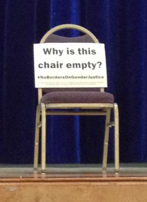At many NGO-run parallel events empty chairs were used to represent the absent voices of women...