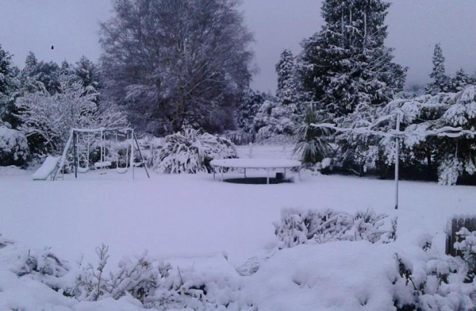 Cheryl Paterson's backyard winter wonderland in Somerset Cres, Tapanui.
