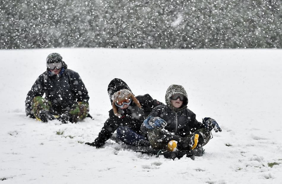 From rear: Ryan Jamieson (11) Kailen Beattie (12) and Liam Gillies (12) enjoyed some  sledging...