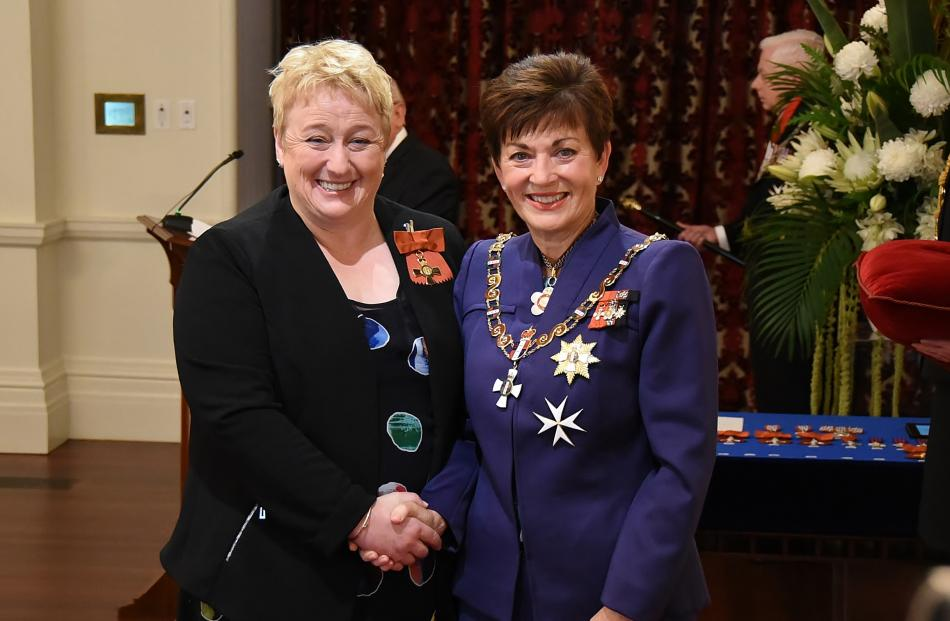 Receiving congratulations from Dame Patsy is former Queenstown Lakes District mayor Vanessa van...