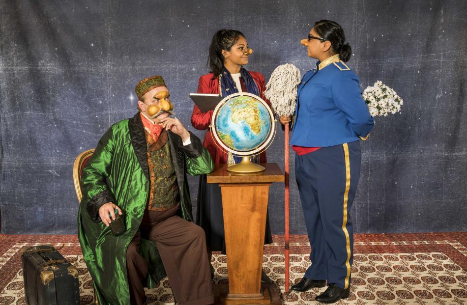 Andrew Ford as George, Kalyani Nagarajan as Sasha and Vanessa Kumar as Jeena in The Pickle King. Photos: Supplied