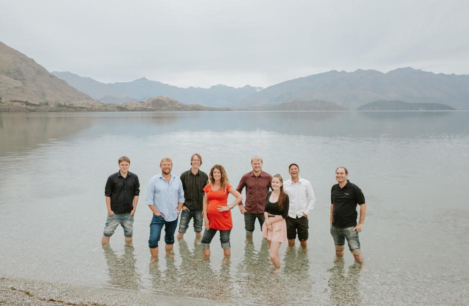 The Kin2Kin team works out of Wanaka. In Wanaka last year are (from left) Nic Robertson (Android programmer), Hamish McGregor (founder), Lloyd Weehuizen (back-end programmer) , Kristi James (customer engagement manager), Rob Silverton (web developer), Han