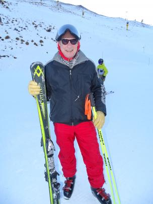Digs Hargreaves (69), of Queenstown, after his one and only run at Coronet Peak on Saturday. Mr Hargreaves has not missed an opening day at Coronet in 45 years.