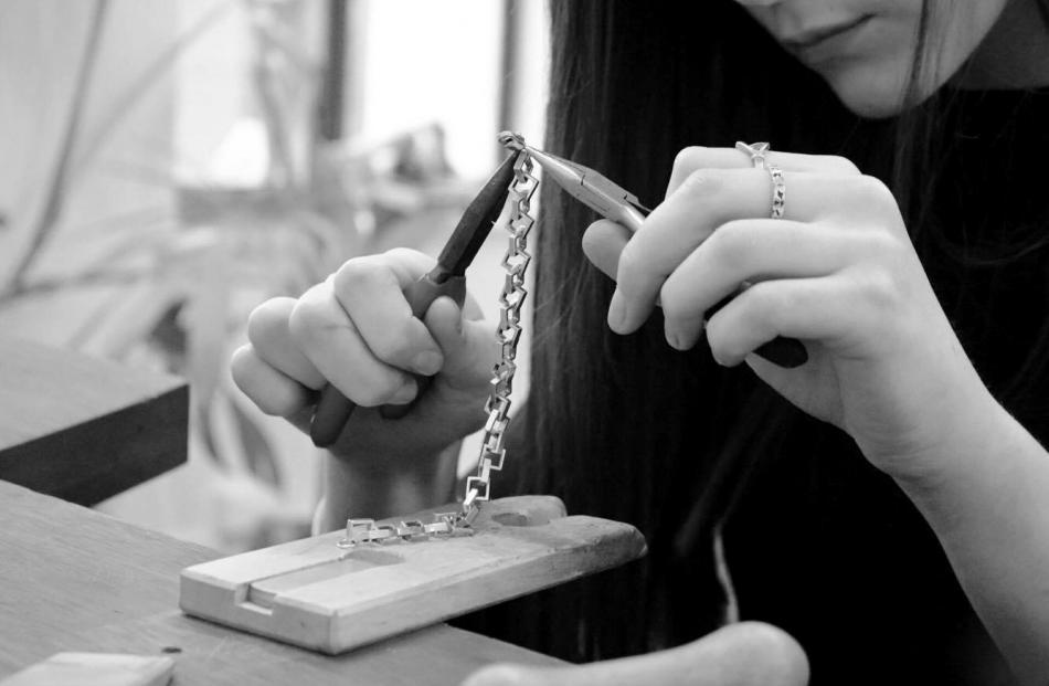 Rebecca creating her jewellery