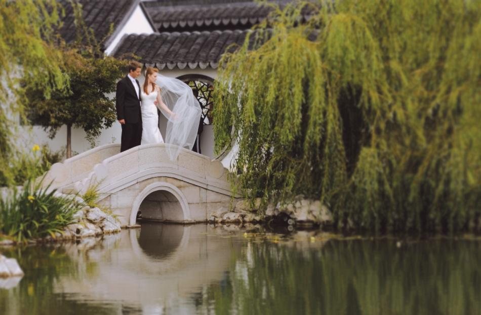The Dunedin Chinese Garden provides a unique backdrop for photos.