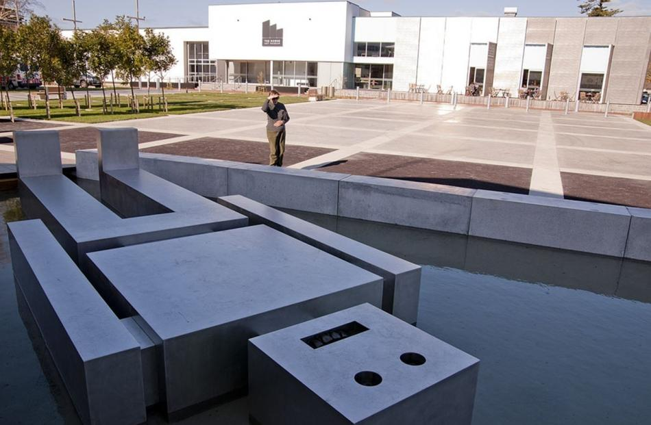 Ronnie Van Hout's Fallen Robot 2012 installed at the Dowse Square, Lower Hutt. Photo: Supplied
