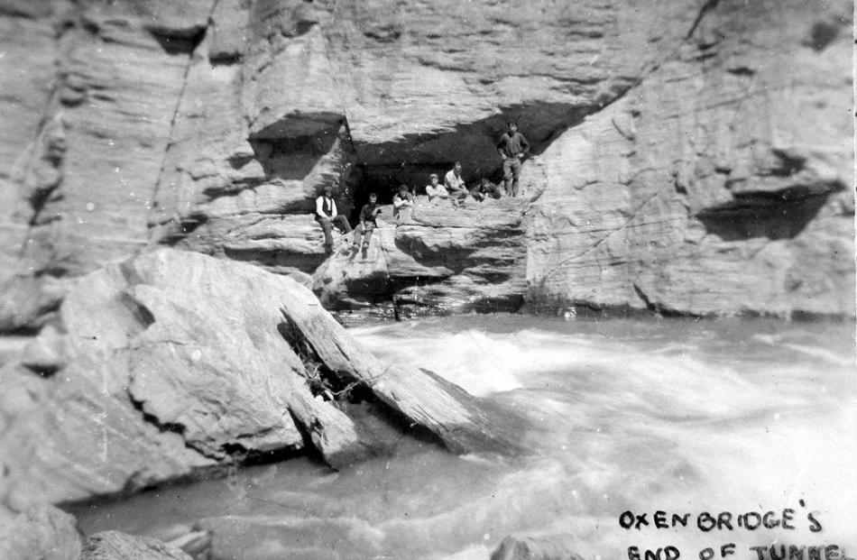 The mouth of the Oxenbridge Tunnel on the Shotover River. Photos: Lakes District Museum.