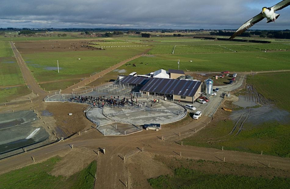 A drone view of the Southern Dairy Hub opening in Southland. Photo: Agresearch