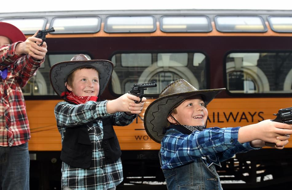 Crunchie Train passengers Mackenzie Hallberg, of Greymouth, and Sam and Ben Baskett, of Dunedin,...