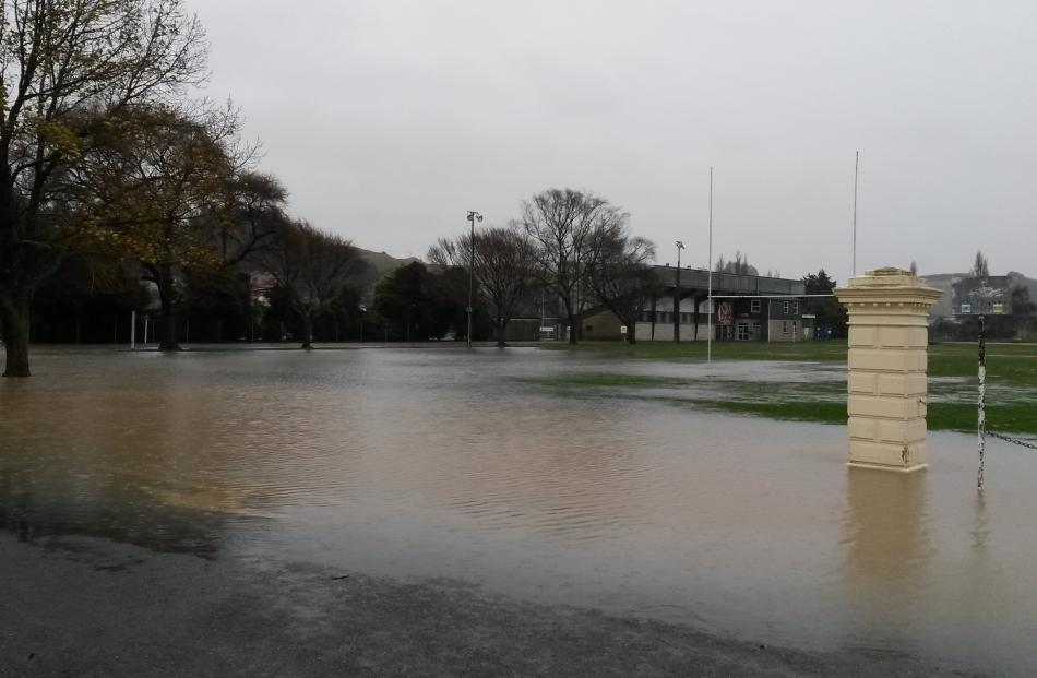 Flood waters at Centennial Park in Oamaru. Photo: Shannon Gillies