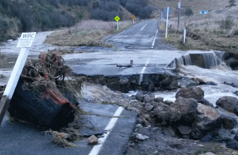 Oamaru's Old Mill Rd on Saturday afternoon after the rain event. Photo: Shannon Gillies