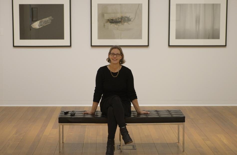 Artist Marie Shannon surrounded by her works at the Dunedin Public Art Gallery. Photo: Gerard O'Brien