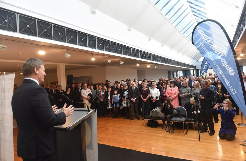 Prime Minister Bill English addresses  recipients and their supporters during the Otago Daily...