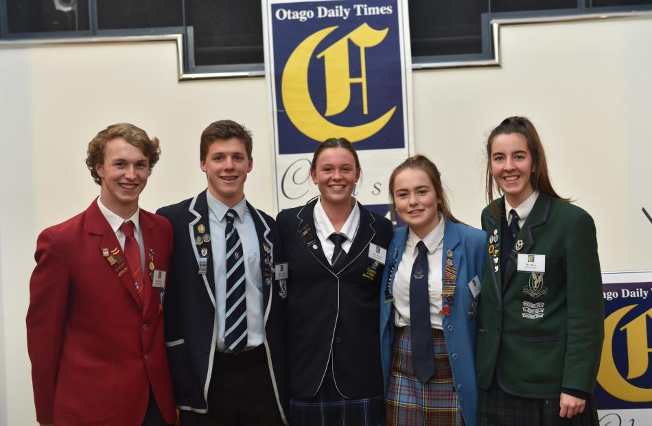Pupils (from left) Christopher Hill, of Dunstan High School, Malachi Buschl, of King's High...