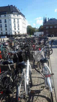 The bicycle racks outside Copenhagen's main railway station.