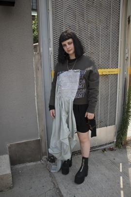Julia wears Eckhaus Latta x Election Reform sweatshirt, Deadly Ponies Jewellery.
